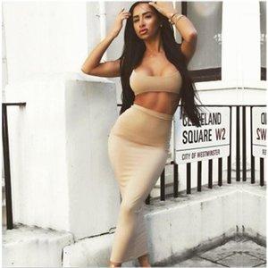 Sıska Etek Kadın İki Adet Elbiseler Moda Yeni Stil Sling Meme Wrap Göbek Buttom Uzun Etek Tasarımcı Kadın Sexy ayarlar Takımları