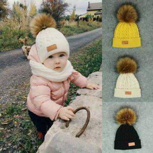 fur ball cap winter hats children boys girls skullies beanies for kids pompom hat