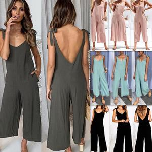 Женщины Bodycon Сыпучие твердые и игровая одежда Комбинезоны Backless без бретелек Сплошные Широкие Комбинезоны Нога для женских рукавов Одежда