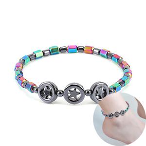 Magnétique Oval Hématite Pierre Perle Anklets Bracelet Rainbow Couleur Femmes Summer Beach Energie Health Anklets Modèle Foot Bijoux 318 G2