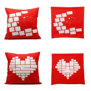 Sublimation Blank Blank Red Cuscini Cover Love Heart Pillowslip Black Men Donne Moon Star Pillow Case Famiglia Fashion 8ex P2