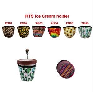 Leopard Pattern Reusable Neoprene Ice Cream Holder Coffee Sleeve Ice Cream Cozy Cover Cup Holder Insulator Cup Sleeve Spoon Holder GWB2434