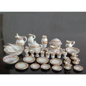 1 12 Dollhouse Miniature Dining Ware Porcelain Tea Set Dish Cup Plate 40pcs DC043 1019