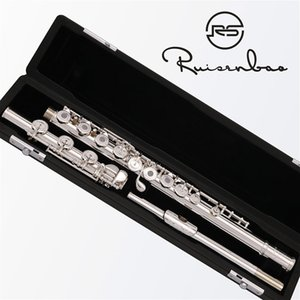 High Quality Silver plated Flute French 17 keys Open Holes B Foot Italian Pads With Case