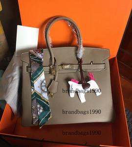 Pres Kilit Lady hakiki deri Çanta Eşarp At Charm ücretsiz gönderim ile Moda Çanta 35cm 30CM 25CM Kadınlar Totes Askılı çanta