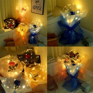 Party Balloons LED Luminous Balloon Rose Bouquet Transparent Bobo Ball Rose Valentines Day Gift Party Wedding Decoration Balloons E121802