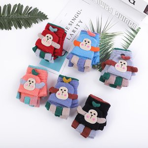 Children's gloves monkey gloves for autumn and winter cute middle and small children cartoon warm and thick