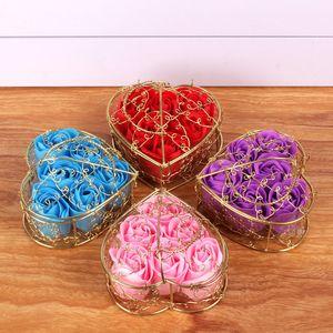 Saint Valentin 6pcs Fleur de fleur Rose Flower Cadeaux créatifs avec boîte d'emballage en métal exquis DHL Livraison gratuite