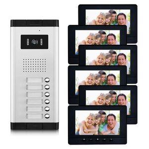 6-12 Einheiten Wohnung Video Intercom System 7 Zoll Monitor Video Türsprechanlage Intercom System Kabelgebundene Heimtürklingel Kit