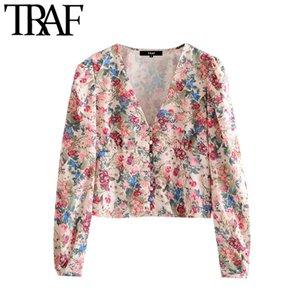TRAF Women Fashion Floral Print Cropped Blouses Vintage V Neck Long Sleeve Female Shirts Blusas Chic Tops 201126