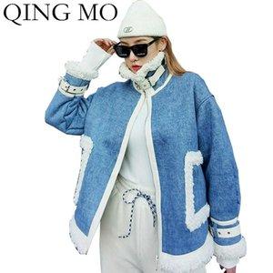 Women's Jackets QING MO Women Cashmere Coat 2021 Autumn Winter Blue Denim Jacket Moto & Biker Style Short ZQY6215