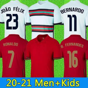 2020 Футбольные трикотажки Роналду Фернандес Portug Joao Felix Noves Bernardo Canmano Ruben Neves 2021 Quaresma 20 21 Мужчины + Детский комплект Футбольная рубашка