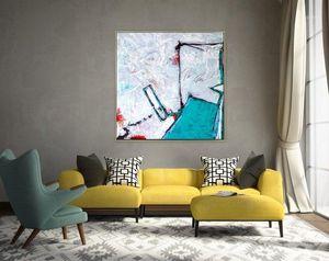 Картины Абстрактная живопись Оригинальный большой акриловый холст стены искусства синий минимальный экспрессионизм современный на дверь1