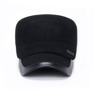 Povos inverno meia-idade e idosos Aqueça algodão acolchoado Hat para pais Mens Fria Proof Flat Top Hat chapéu de lã