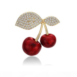 Luxury Cubic Zirconia Cherries Enamel Pins Cute Red Fruit Cherry Brooches Pin Vintage Jewelry Gift for Her broche femme bijoux