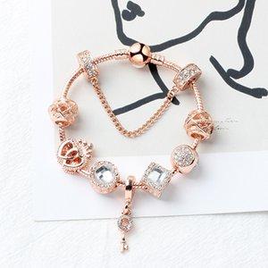 Rose Gold Cobra Cadeia Mulheres Bracelet Crystal Key Pulseira DIY Encantos da jóia