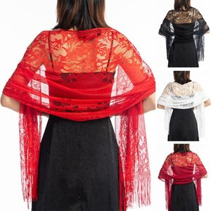 Women Bridal Shawl Cloth Accessory Thin Gauze Summer Hollowed Out Wedding Party Long Scarf Evening Dress Double Use Lace Elegant