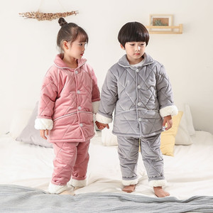 S4W6 Baby Pajamas Kids comfortable Kids Clothing Sets Toddler Unisex Baby Girl Solid Headbands Romper Ruffle Pants Ruffle Warm Outfits