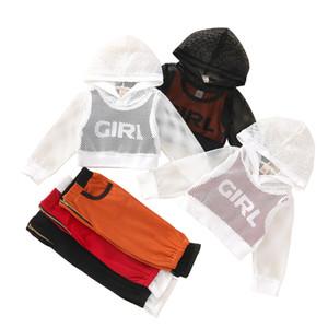 Baby-Girls Felpe con cappuccio Set di maglia con cappuccio Stampato Gilet Hollow Out Tops Tops Pocket Zipper Pantaloni per ragazze Pantaloni per bambini Lersure Autbiti 061205