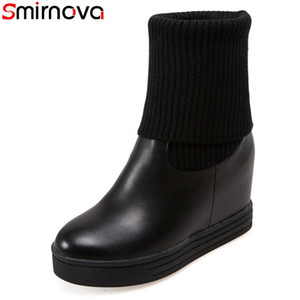 Smirnova 2020 new arrival mid calf boots white black women's winter boots round toe 9cm high heels platform big size 34-43