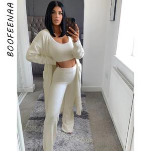 BOOFEENAA Comfy Lounge tragen 3 Stück Set Langarm Cardigan Top und Hosen Winter Outfits für Frauen Matching Sets C97-AEB102