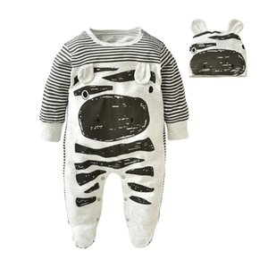 Autumn Fashion Baby Clothing Set Baby boy Zebra Gray Cotton Long-sleeved Rompers+Hat Newborn Toddlers Baby Girls Clothes LJ201223