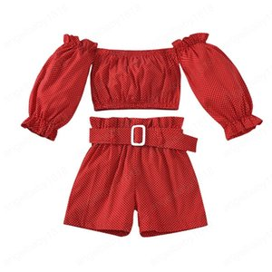 kids clothes girls Dot outfits children off shoulder Tops+Belt shorts 2pcs sets Spring Autumn fashion Boutique baby Clothing Sets