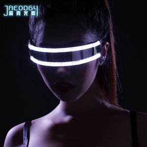 2020 new LED glasses creative fashion luminous glasses DJ bar party products Halloween sci-fi stage dance lighting props