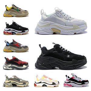 Triple-s zapatillas de deporte de la plataforma zapatos casuales mujeres de los hombres de neón verde amarillo negro burdeos luz púrpura gris gym rainbow rojo azul claro entrenador único