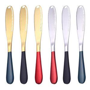 Stainless Steel Smear Knife Western Food Cutlery Jam Cream Cheese Butter Smeared Knife Creative Scraping Silk Spoon Breakfast Tool EWB2131