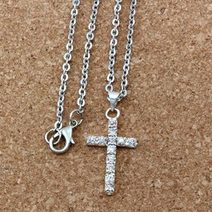 50pcs  lots Europe and America clear Rhinestone Cross Charm pendants Necklaces 50cm Chains 15x30mm cross charms A-151d