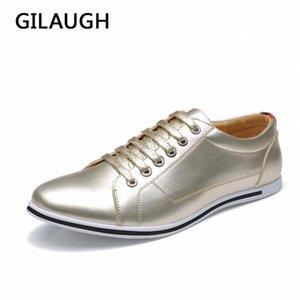 Gilauge большой размер 38-50 мода классический стиль мужская обувь, золотой серебристый простой дизайнер мужчин повседневная обувь # 5Z2Y