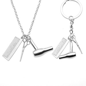 Fashion Hot Stylist Barber Nelace Keychain Keyring with Com, Hair Dryer and Scissor Pendant Charms