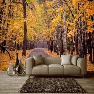 beibehang Custom Photo Mural Wall Sticker Autumn Maple Leaves Fallen Root Trees Trail Path Background Wall papel de parede