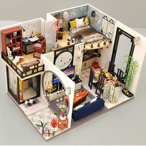 Cutebee Kids Toys Dollhouse con muebles ensamblando la casa de muñecas miniatura de madera DIY Dollhouse Puzzle juguetes para niños LJ200909