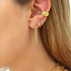 new arrived high quality gold color simple thread fashion jewelry minimal delicate mini hoop open earring for girls women