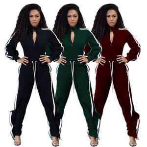 Women Stripe Splicing Suits Fashion Long Sleeve Zipper Cardigan Jackets Drawstring Pant Sets Designer Female Autumn Casual Loose Tracksuits