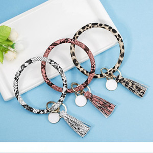 Tassel Charms Bangles Key Buckle PU Leather Wrap Wristbands Keys Chain Multi Colors Bracelet Ring New Arrival 10 5cha L1