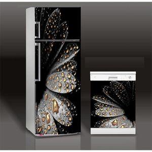 Fridge Sticker Black Flowers Art Refrigerator Dishwasher Door Wrap Kitchen Wallpaper Accessories Modern 3d Wall Stickers 201201
