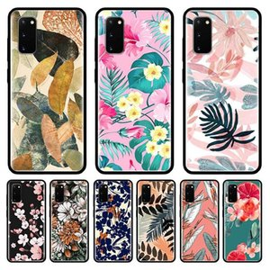 Vintage Banana Leaf Flower Case For Samsung Galaxy S10 S20 Ultra S9 S8 Plus S7 Note 20 9 10 Lite Cubre Black Mobile Phone Coque