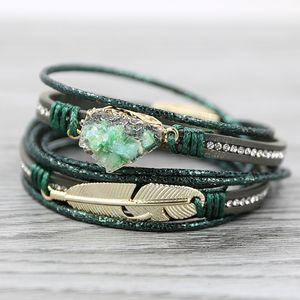 Pulseiras de couro strathspey verdes para Charme Feather Mulheres Multilayer druzy Vintage Bracelet Pulseras Mujer 2020