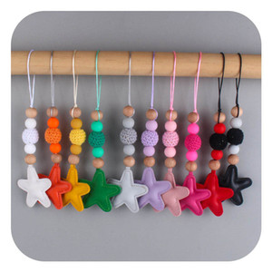 2021 DIY star baby teether chain cute baby toys Teething Ring Baby Chewable Toys Silicone Soother Infant Gifts Food Grade B3757