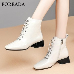 FOREADA Real Leather Ankle Boots Med Heel Woman Boots Zip Block Heel Shoes Lace Up Square Toe Female Short White Size 42
