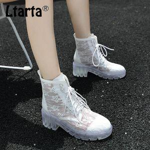 LTARTA Women's Boots Platform Lace Breathable Transparent Lace-up High Heel Ankle Boots Black White Sandal -1108-2