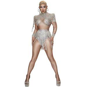 Sparkly Strass Quaste Leotard Diskothek Tanz DS Show Stage Wear Stretch Bodysuit Partei Female Singer Outfit
