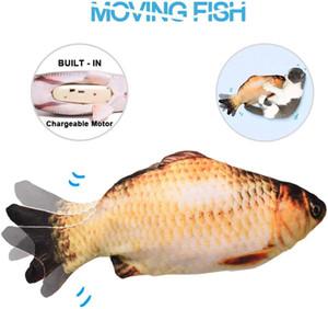 Gerçekçi Peluş Simülasyon Elektrikli Bebek Balık Dans Hareketli Balık Komik İnteraktif Evcil Hayvanlar Oyuncaklar Childen Cat Q1110 için USB Şarj Hediyeler