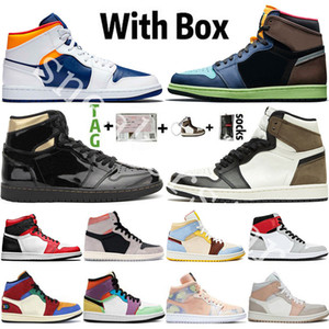 2020 New Arrival Jumpman 1 1S Tokyo Bio Bio Hack skark moka Mens de basketball chaussures Noir Métallique Gold Obsidienne NC Cravate Stores Sports Sports Sports