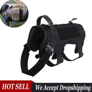 Tacatical Molle Dog Vest Training Harness for Walking Hiking Hunting Adjustable Army Service Dog Vests