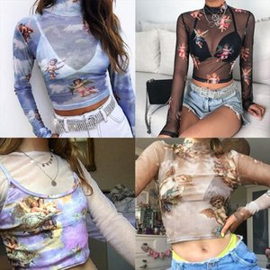 Womens Summer Long Sleeves Mock Neck Crop Top Romantic Colored Angel Cupid Printed See Through Mesh Party Club Blouse