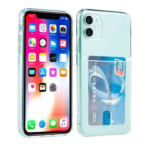 Card Holder Clear Soft TPU Rubber Gel Shockproof Wallet Case for iPhone 12 Mini 11 Pro Max XR XS 6 7 8 Plus